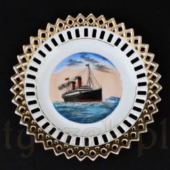 Porcelanowy statek pamiątkowy z liniowcem