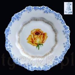 Znakomity śląski talerzyk z malowanym motywem kwiatowym