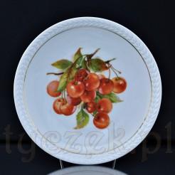 efektowna kalkomania przedstawiająca dojrzałe czereśnie na śląskiej porcelanie