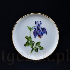 Akelei namalowany kwiat orlik na talerzyku Rosenthal