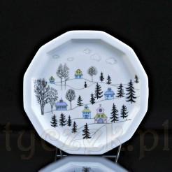 Kolekcjonerski pejzaż zimowy na porcelanowym talerzyku Rosenthal