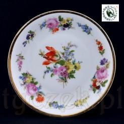 Dekorowany motywem kwiatowym kolekcjonerski talerzyk