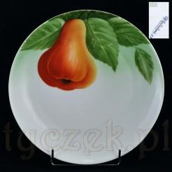 Bawarska Gruszka na liściastym tle - malowany talerz