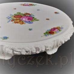 Luksusowa patera na tort z porcelany Rosenthal kwiatowy wzór MARIA