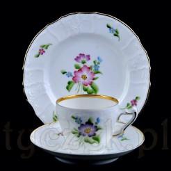 KPM idealny zestaw śniadaniowy - trio ręcznie zdobiona porcelana