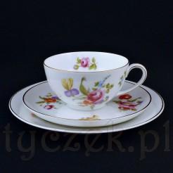 Kolekcjonerskie trio Rosenthal z białej porcelany w kwiaty