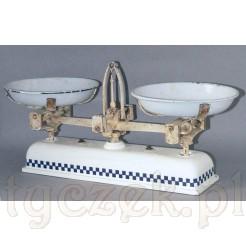 Zabytkowa waga ceramiczna +dwie szalki emaliowane