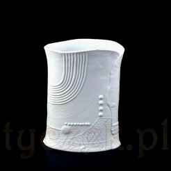Biskwitowy, duży wazon szkliwiony w środku
