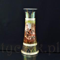 Oryginalny, wysoki wazon porcelanowy zachowany w tonacji zieleni, turkusu i złota z lekko perłową poświatą