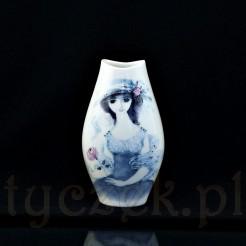 Ręcznie malowana dama w kapeluszu w pastelowych barwach na wazonie