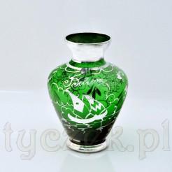Szklany wazon w kolorze zielonym