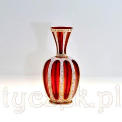 oryginalny wazon Biedermeier szkło rubinowe