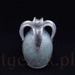 Przepiękny wazon z nietypowego chropowatego połyskującego szkła, które przypomina połączenie szkła bąbelkowego z tłuczonym