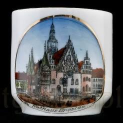 Wrocławski ratusz ok 1900 rok - na dawnej porcelanie