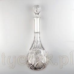 Wysoka karafka kryształowa w srebrze