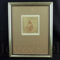 Zabytkowa grafika z wizerunkiem długowłosego mężczyzny w stylu prac Leonarda Da Vinci.