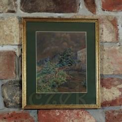 Obraz ujęto w drewnianą ramę listwową.