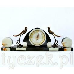 Kominkowy zegar marmurowy z przystawkami