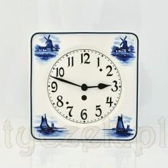 Zabytkowy zegar z ceramiką w typie holenderskim