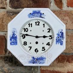 Okazały biało-niebieski zegar ścienny do salonu i kuchni