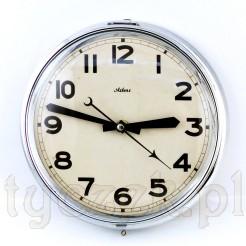 Okrągły zegar na ścianę w chromowanej obudowie
