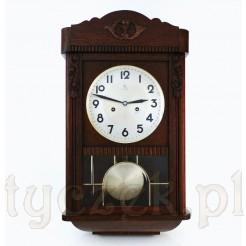 Witrażowy zegar wahadłowy w ciemnym dębie!