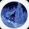 1954 MEISSEN- ścienny talerz z chatką w zimowej scenerii
