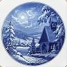 1970 rok MEISSEN- talerz bożonarodzeniowy z zimową scenerią