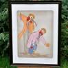 Bajkowa barwna sygnowana litografia z dwoma zabawnymi clownami
