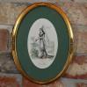 Francuska szlachcianka w owalnej ramie - ręcznie barwiony staloryt z XIX wieku