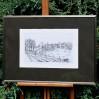 Poetycki pejzaż z widokiem na wiejskie chaty w nowoczesnej oprawie. Pierre Boffin
