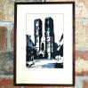 Sygnowana i podpisana, mroczna grafika z widokiem na wrocławską katedrę