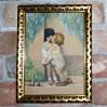 Pierwsze, dziecięce pocałunki. Rozczulająca praca z 1932 roku, wykonana w technice suchej pasteli