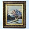 Fascynujący alpejski krajobraz z kapliczką - obraz w niesamowitej rzeźbionej ramie