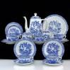 Biało niebieska porcelana Tuppack Tiefenfurt SERWIS na 6 osób z kolekcji CHINA BLAU