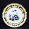 Fajansowy XIX-wieczny talerz z bogatą dekoracją - scenka z łowiącymi ryby