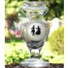 Piękny szklany wazon ze scenką z epoki Biedermeier !