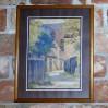 Obraz malowany farbami akwarelowymi z widokiem na wiejskie zabudowania.