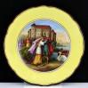 Zabytkowy talerz z ręcznie wykonaną malaturą ze sceną z opery. Lohengrin