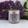 Wiktoriański pojemnik kryształowy ze srebrem