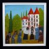 Barwna kompozycja z widokiem na Żydów zgromadzonych pod murami synagogi.