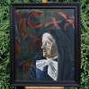 Duży obraz olejny w wizerunkiem starszej kobiety.