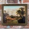 Romantyczny pejzaż malowany farbami olejnymi na desce.